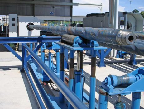Machine loading system for Megabore lathes